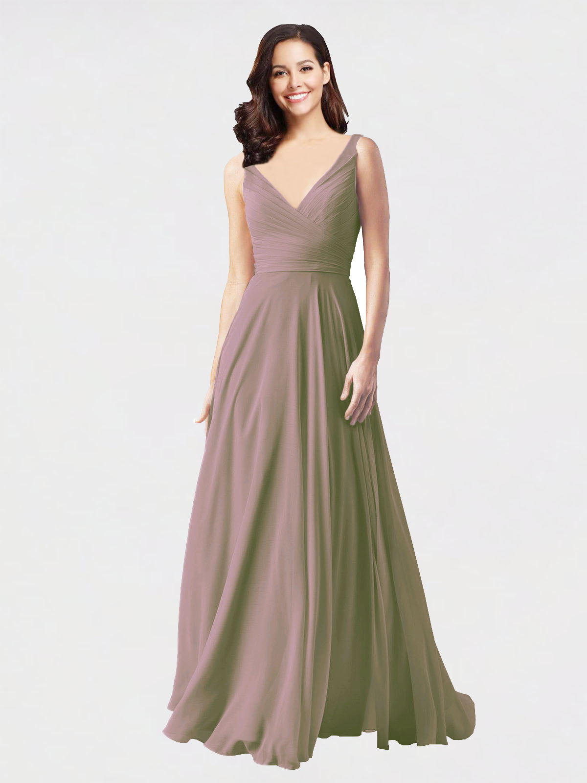 Long A-Line V-Neck Sleeveless Dusty Rose Chiffon Bridesmaid Dress Bernice