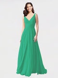 Long A-Line V-Neck Sleeveless Emerald Green Chiffon Bridesmaid Dress Bernice