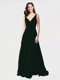 Long A-Line V-Neck Sleeveless Ever Green Chiffon Bridesmaid Dress Bernice