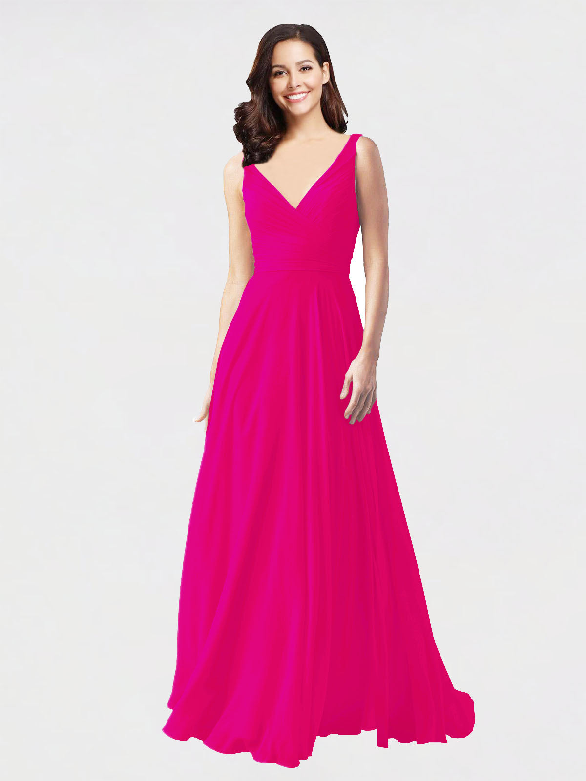 Long A-Line V-Neck Sleeveless Fuchsia Chiffon Bridesmaid Dress Bernice
