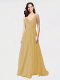Long A-Line V-Neck Sleeveless Gold Chiffon Bridesmaid Dress Bernice