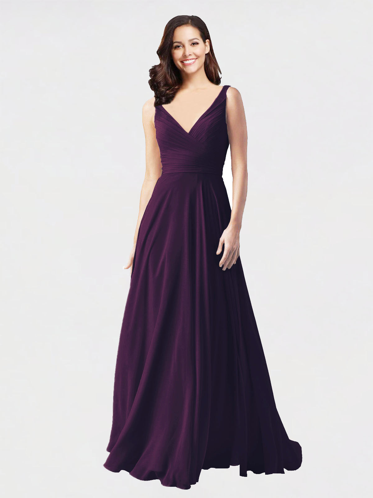 Long A-Line V-Neck Sleeveless Grape Chiffon Bridesmaid Dress Bernice