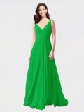 Long A-Line V-Neck Sleeveless Green Chiffon Bridesmaid Dress Bernice