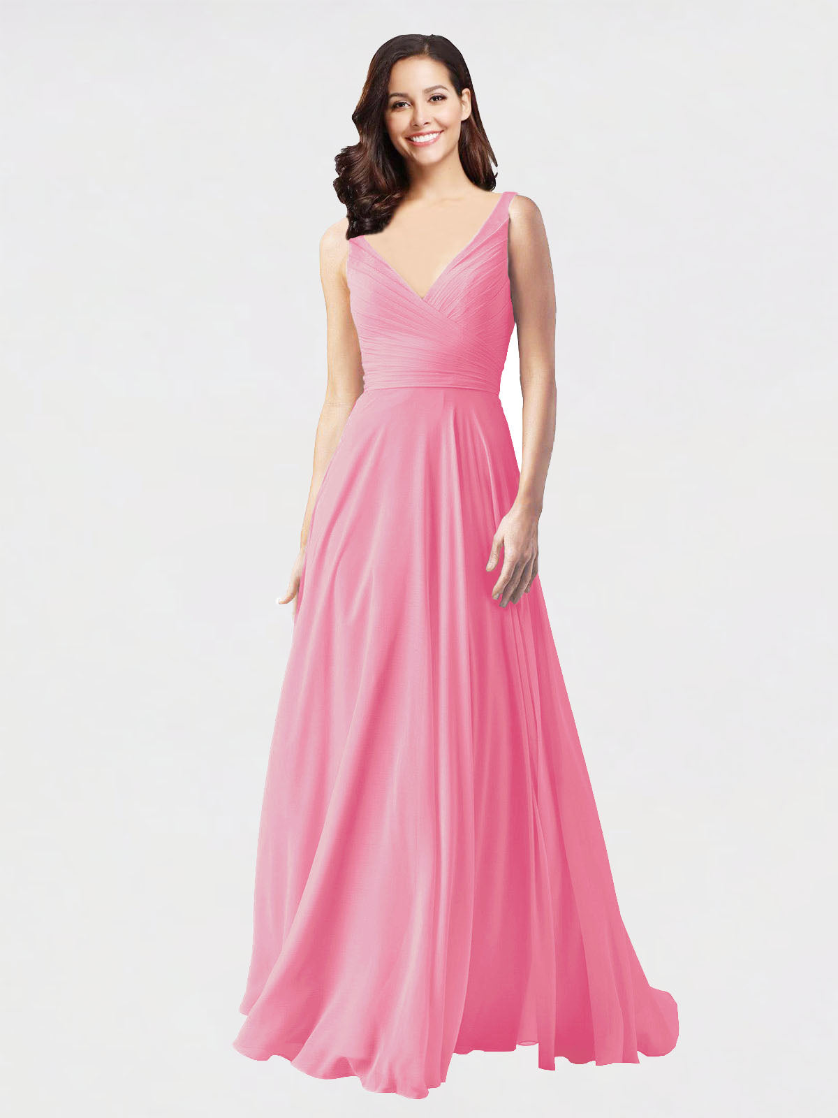 Long A-Line V-Neck Sleeveless Hot Pink Chiffon Bridesmaid Dress Bernice
