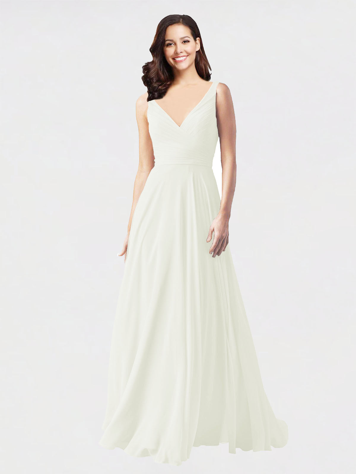 Long A-Line V-Neck Sleeveless Ivory Chiffon Bridesmaid Dress Bernice
