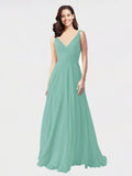Long A-Line V-Neck Sleeveless Jade Chiffon Bridesmaid Dress Bernice