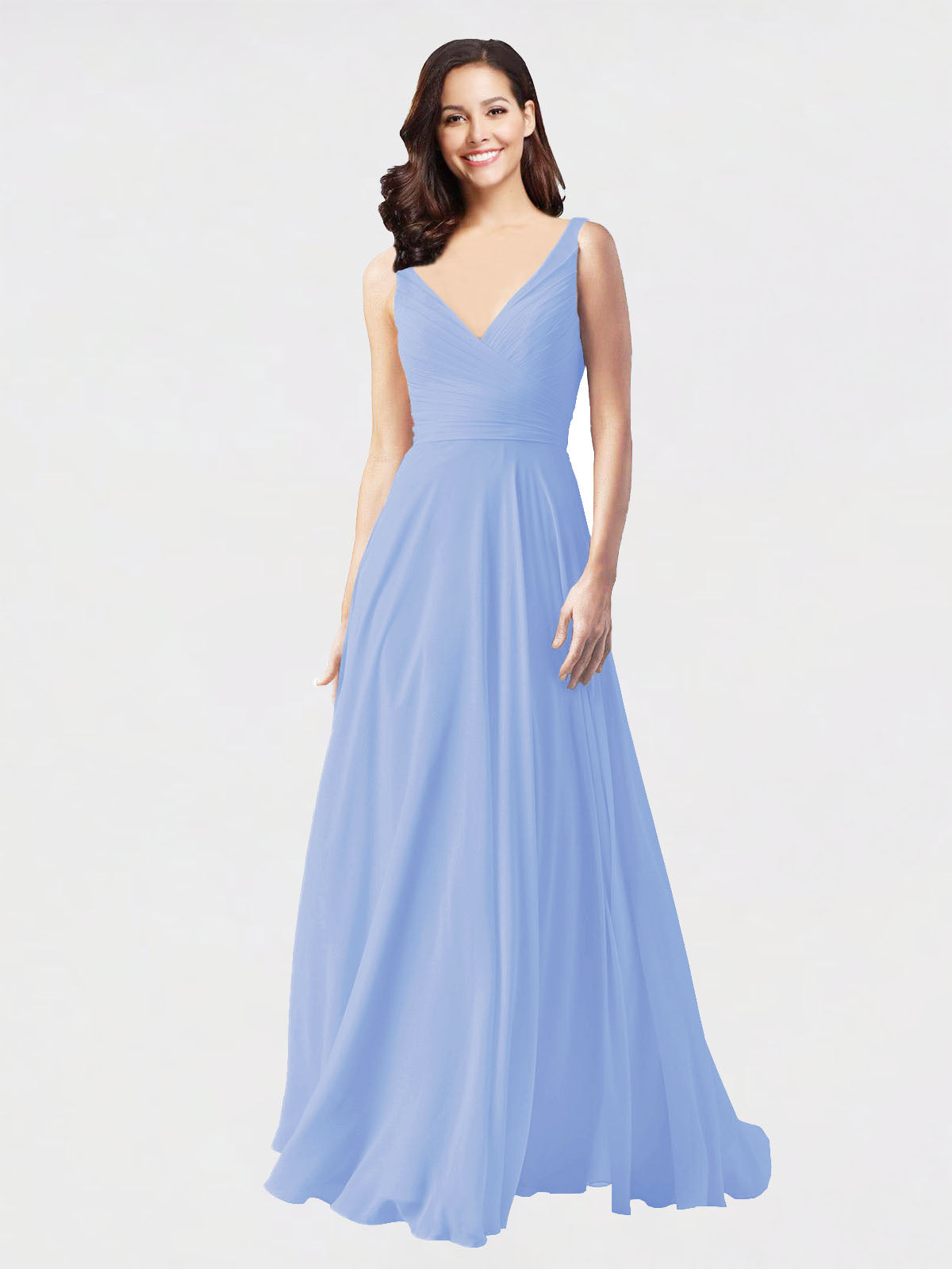 Long A-Line V-Neck Sleeveless Lavender Chiffon Bridesmaid Dress Bernice