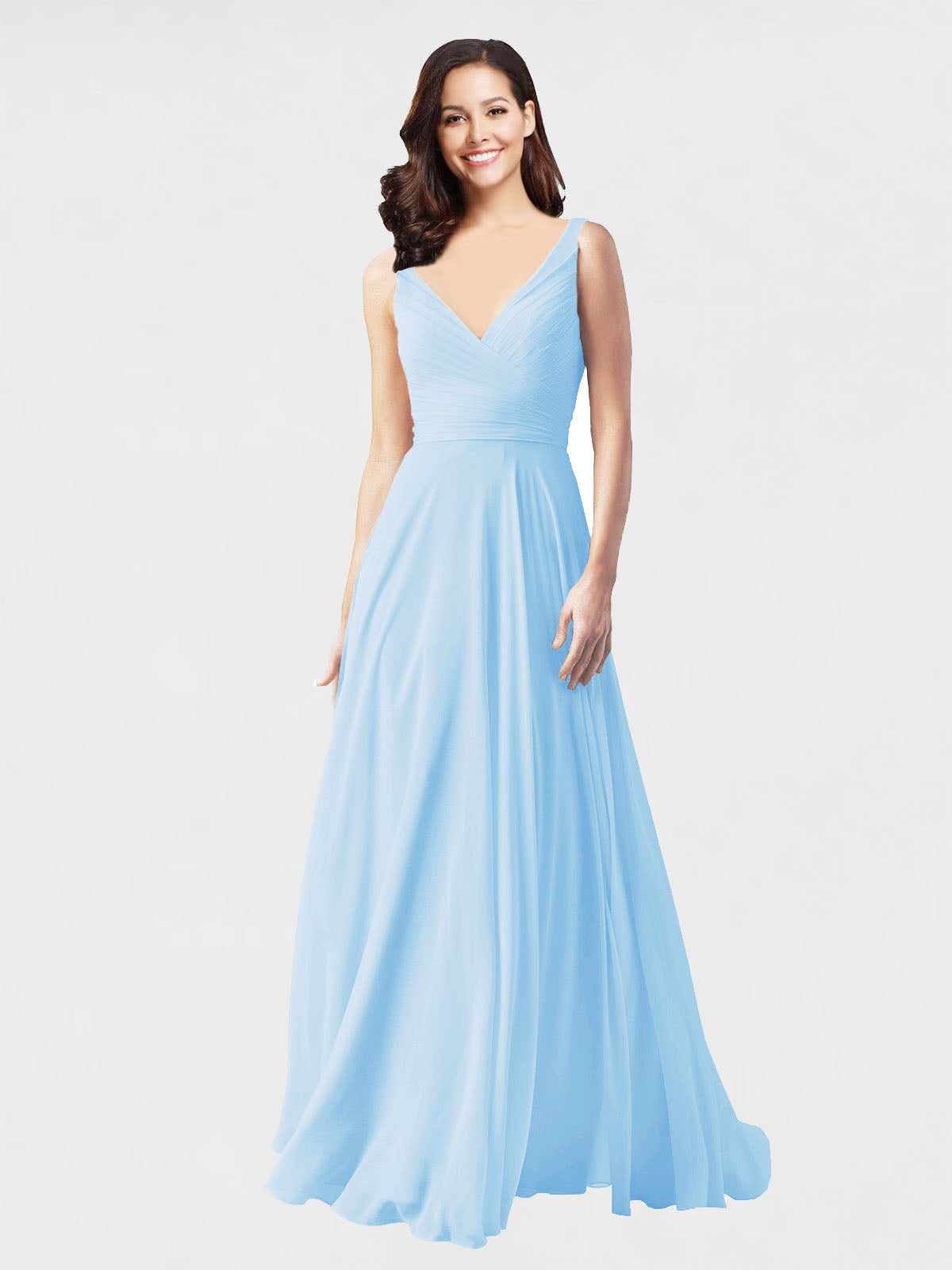 Long A-Line V-Neck Sleeveless Light Sky Blue Chiffon Bridesmaid Dress Bernice