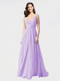Long A-Line V-Neck Sleeveless Lilac Chiffon Bridesmaid Dress Bernice
