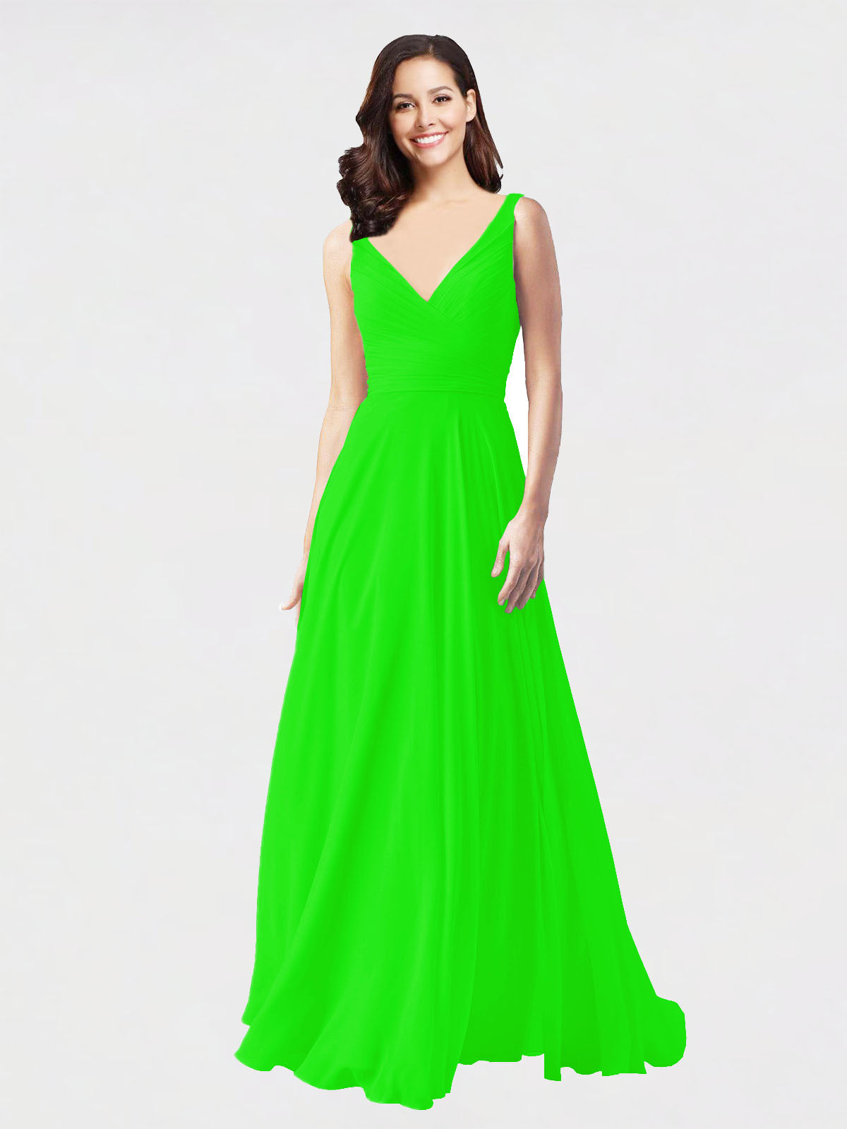 Long A-Line V-Neck Sleeveless Lime Green Chiffon Bridesmaid Dress Bernice