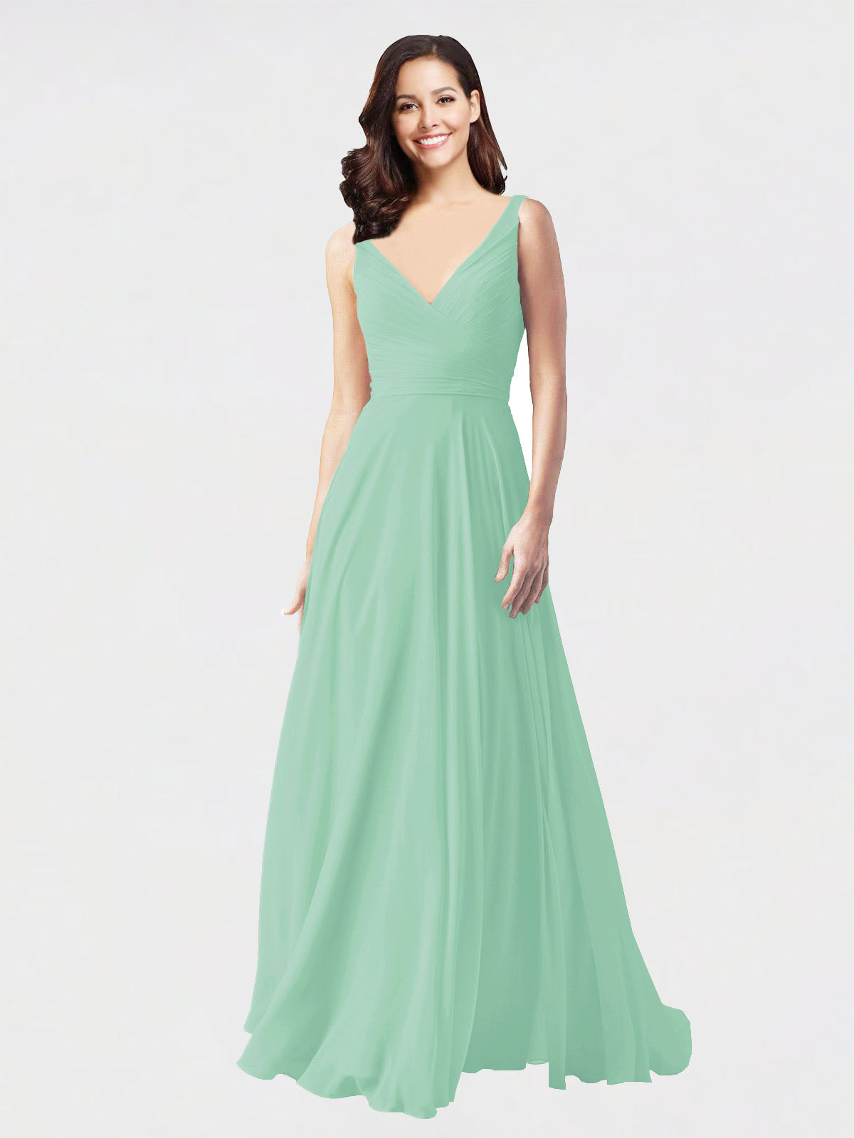 Long A-Line V-Neck Sleeveless Mint Green Chiffon Bridesmaid Dress Bernice
