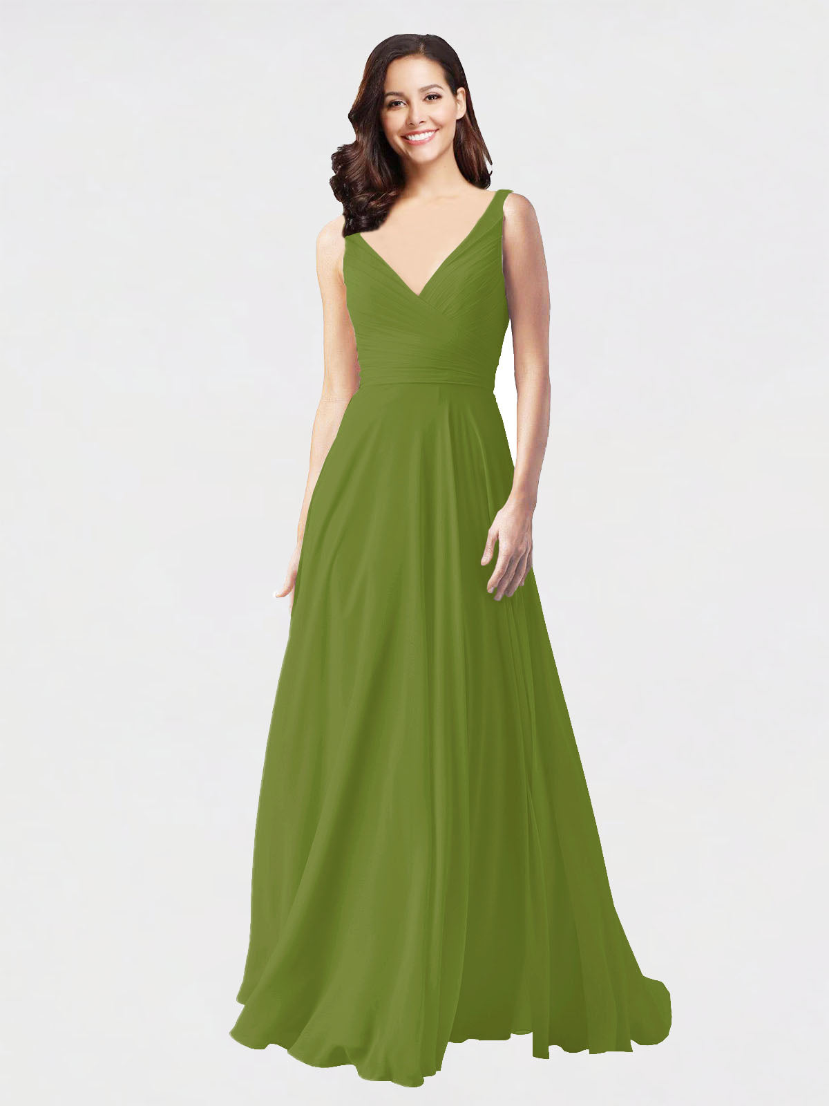 Long A-Line V-Neck Sleeveless Olive Green Chiffon Bridesmaid Dress Bernice