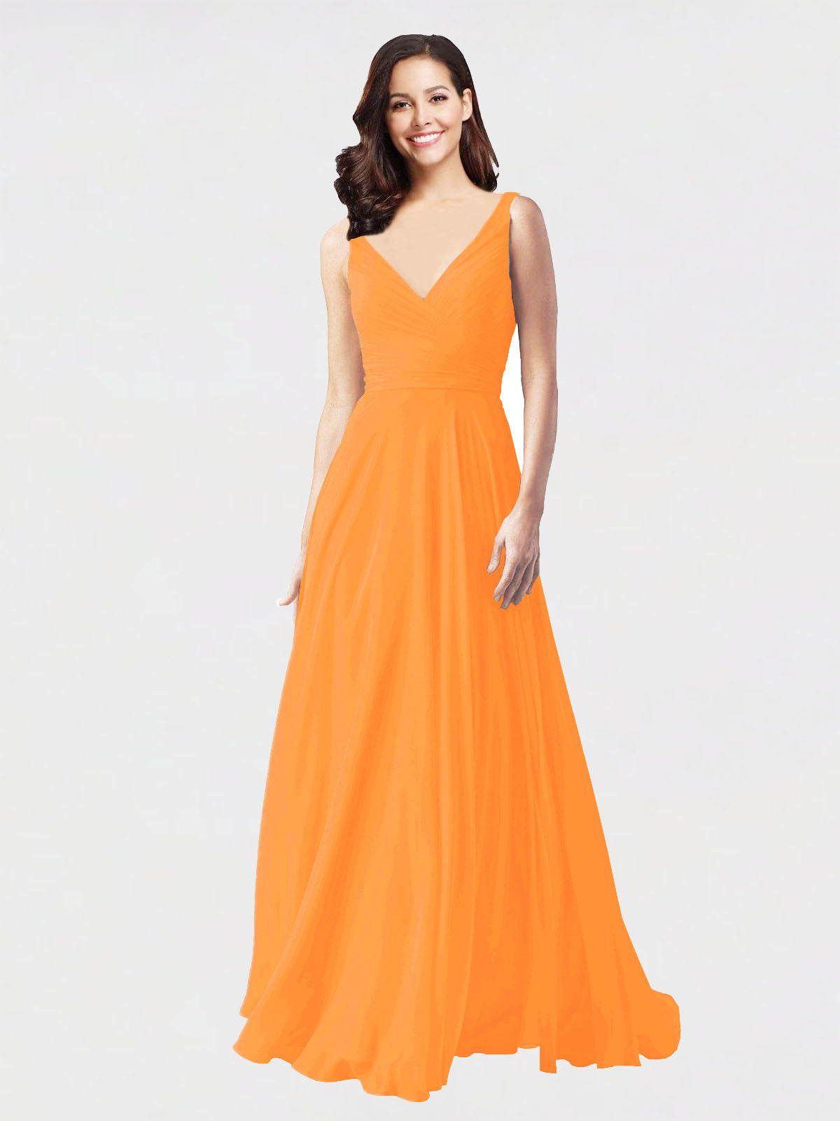 Long A-Line V-Neck Sleeveless Orange Chiffon Bridesmaid Dress Bernice