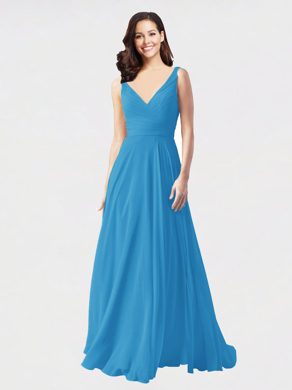 Long A-Line V-Neck Sleeveless Peacock Blue Chiffon Bridesmaid Dress Bernice