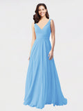 Long A-Line V-Neck Sleeveless Periwinkle Chiffon Bridesmaid Dress Bernice