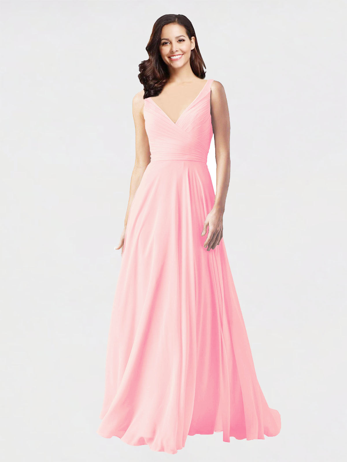Long A-Line V-Neck Sleeveless Pink Chiffon Bridesmaid Dress Bernice