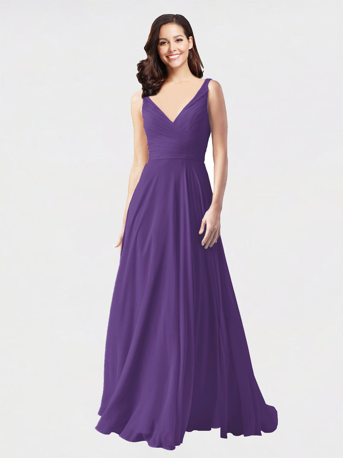 Long A-Line V-Neck Sleeveless Plum Purple Chiffon Bridesmaid Dress Bernice