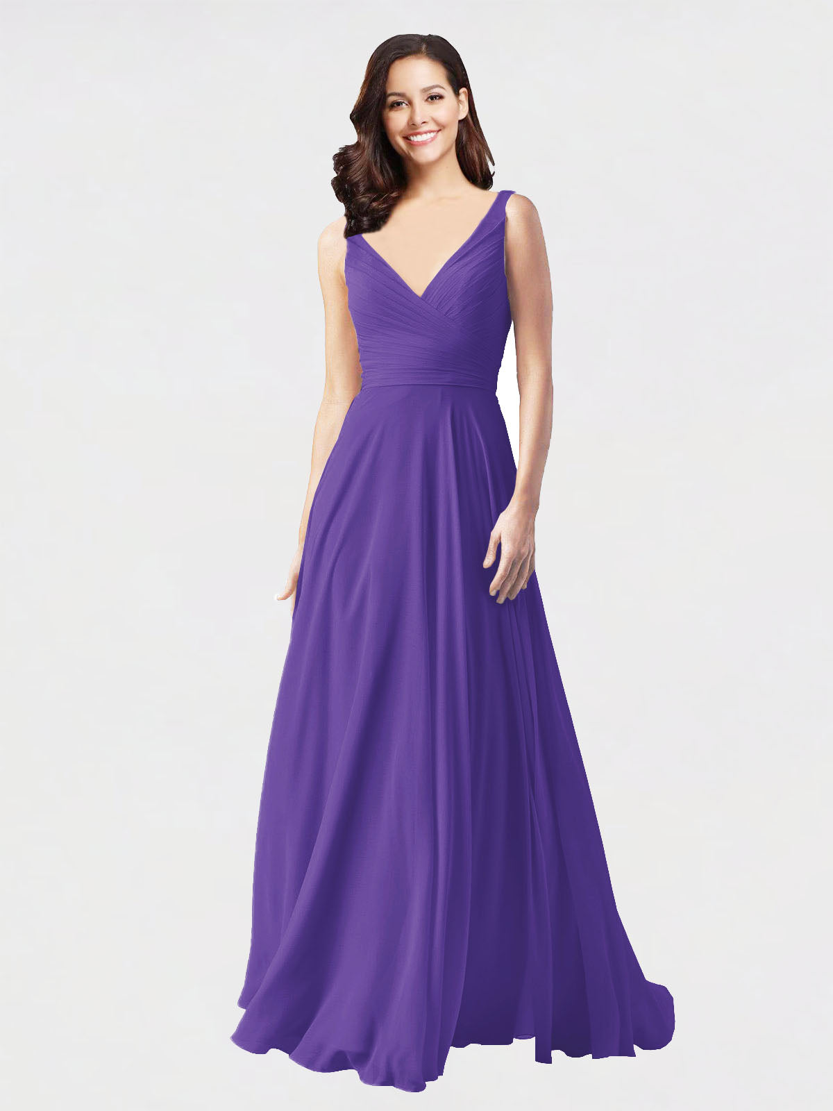 Long A-Line V-Neck Sleeveless Purple Chiffon Bridesmaid Dress Bernice