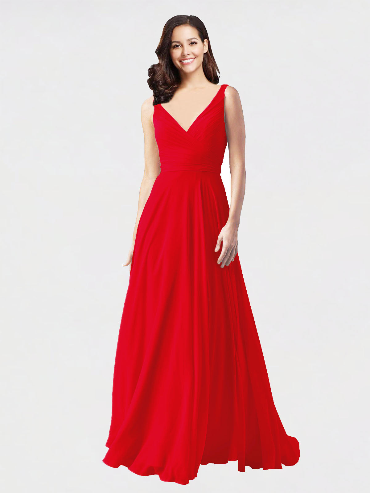 Long A-Line V-Neck Sleeveless Red Chiffon Bridesmaid Dress Bernice