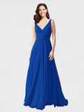 Long A-Line V-Neck Sleeveless Royal Blue Chiffon Bridesmaid Dress Bernice