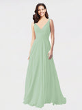 Long A-Line V-Neck Sleeveless Sage Chiffon Bridesmaid Dress Bernice