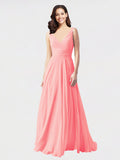 Long A-Line V-Neck Sleeveless Salmon Chiffon Bridesmaid Dress Bernice