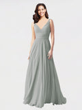 Long A-Line V-Neck Sleeveless Silver Chiffon Bridesmaid Dress Bernice