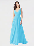 Long A-Line V-Neck Sleeveless Sky Blue Chiffon Bridesmaid Dress Bernice