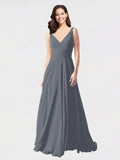 Long A-Line V-Neck Sleeveless Slate Grey Chiffon Bridesmaid Dress Bernice
