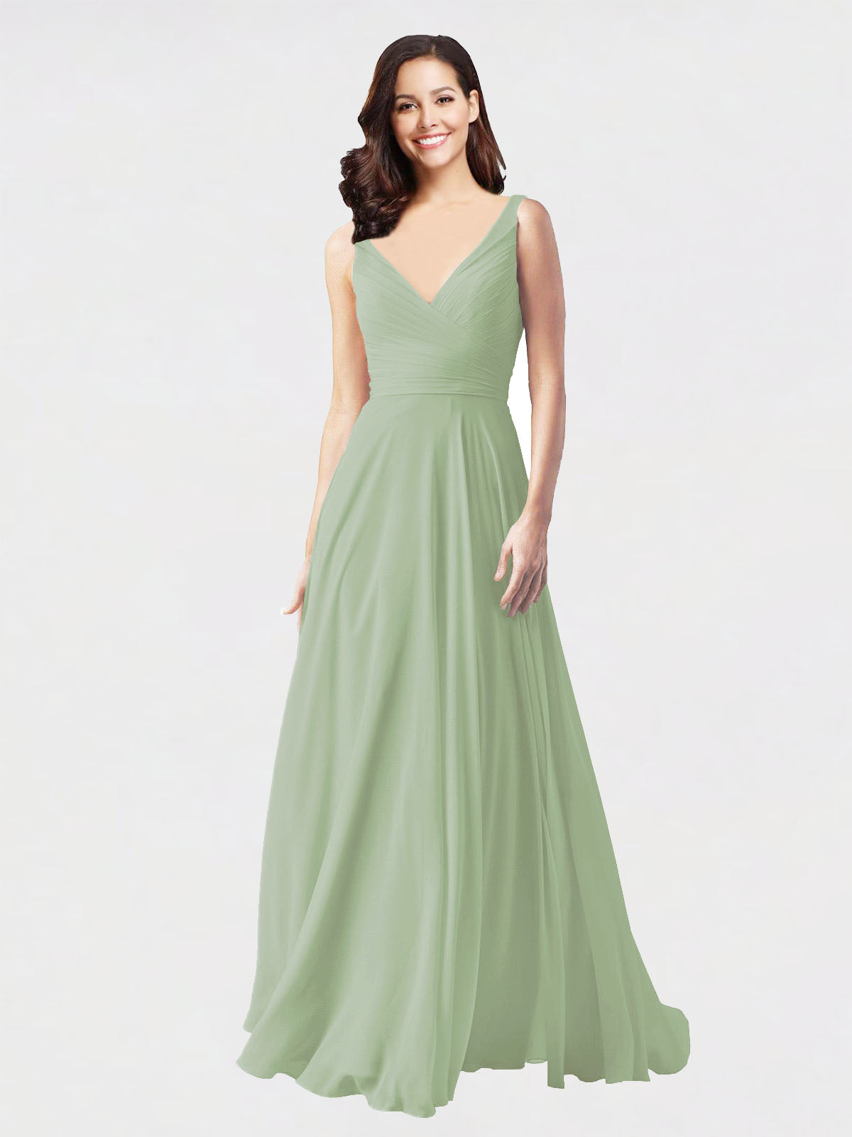 Long A-Line V-Neck Sleeveless Smoke Green Chiffon Bridesmaid Dress Bernice