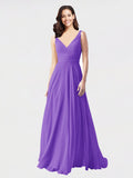 Long A-Line V-Neck Sleeveless Tahiti Chiffon Bridesmaid Dress Bernice