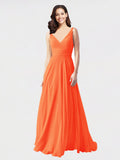 Long A-Line V-Neck Sleeveless Tangerine Tango Chiffon Bridesmaid Dress Bernice