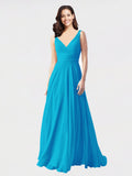Long A-Line V-Neck Sleeveless Turquoise Chiffon Bridesmaid Dress Bernice
