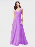 Long A-Line V-Neck Sleeveless Violet Chiffon Bridesmaid Dress Bernice
