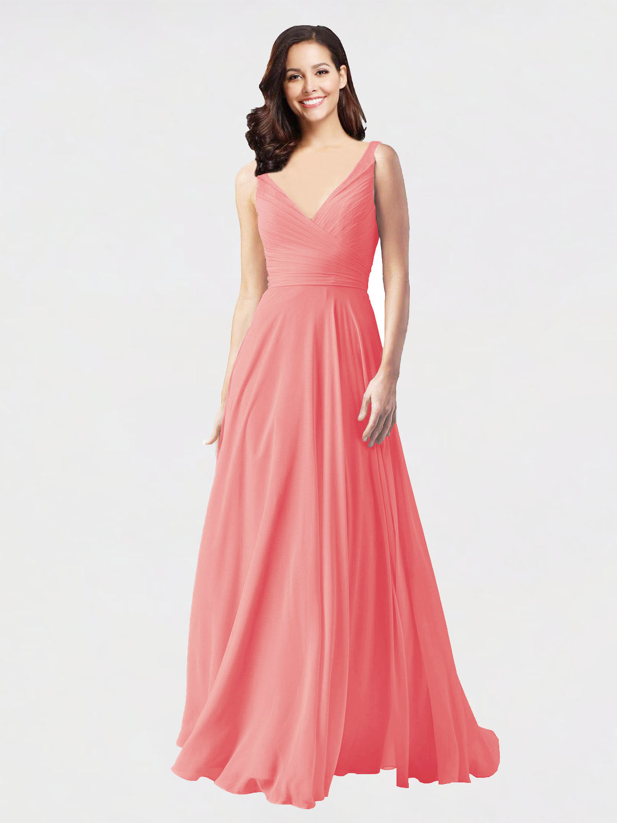 Long A-Line V-Neck Sleeveless Watermelon Chiffon Bridesmaid Dress Bernice