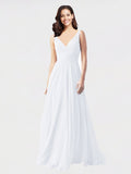 Long A-Line V-Neck Sleeveless White Chiffon Bridesmaid Dress Bernice