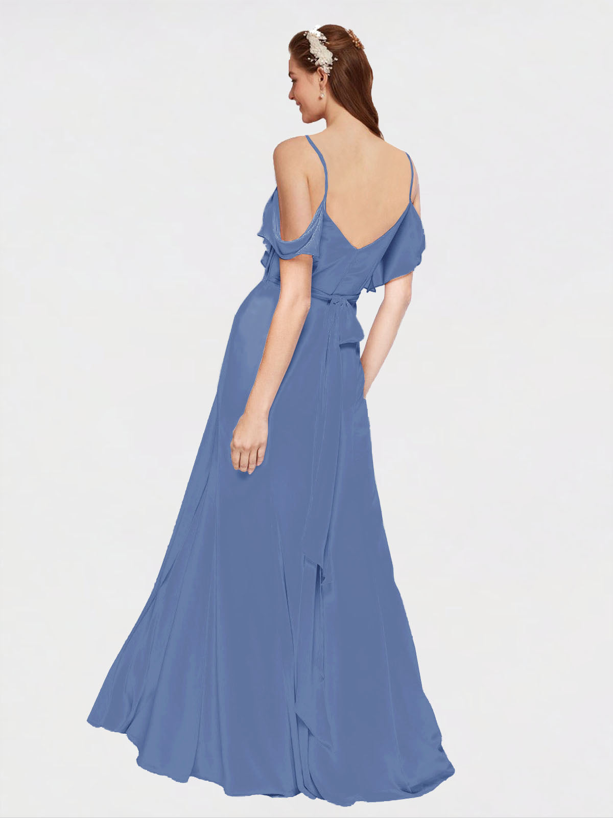 Long A-Line Off the Shoulder, Sweetheart, Cold Shoulder Sleeveless Windsor Blue  Bridesmaid Dress Augusta