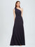 Long A-Line One Shoulder Floor Length Sleeveless Crepe Bridesmaid Dress Franco