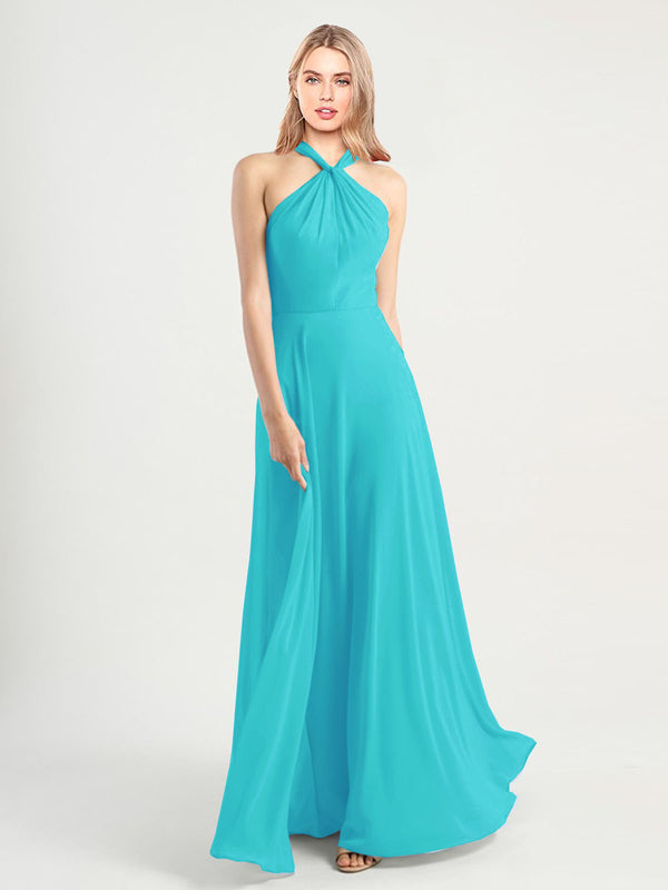 Long A-Line High Neck, Halter Sleeveless Aqua Chiffon Bridesmaid Dress Yoli
