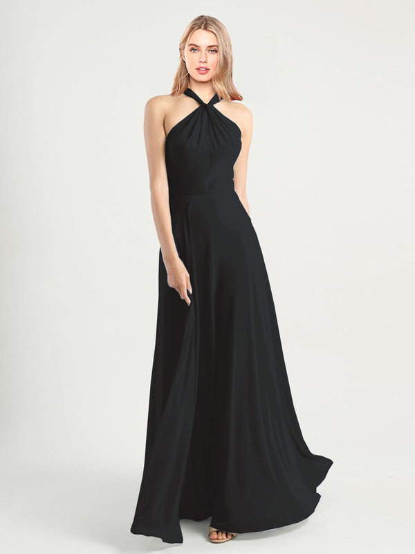 Long A-Line High Neck, Halter Sleeveless Black Chiffon Bridesmaid Dress Yoli