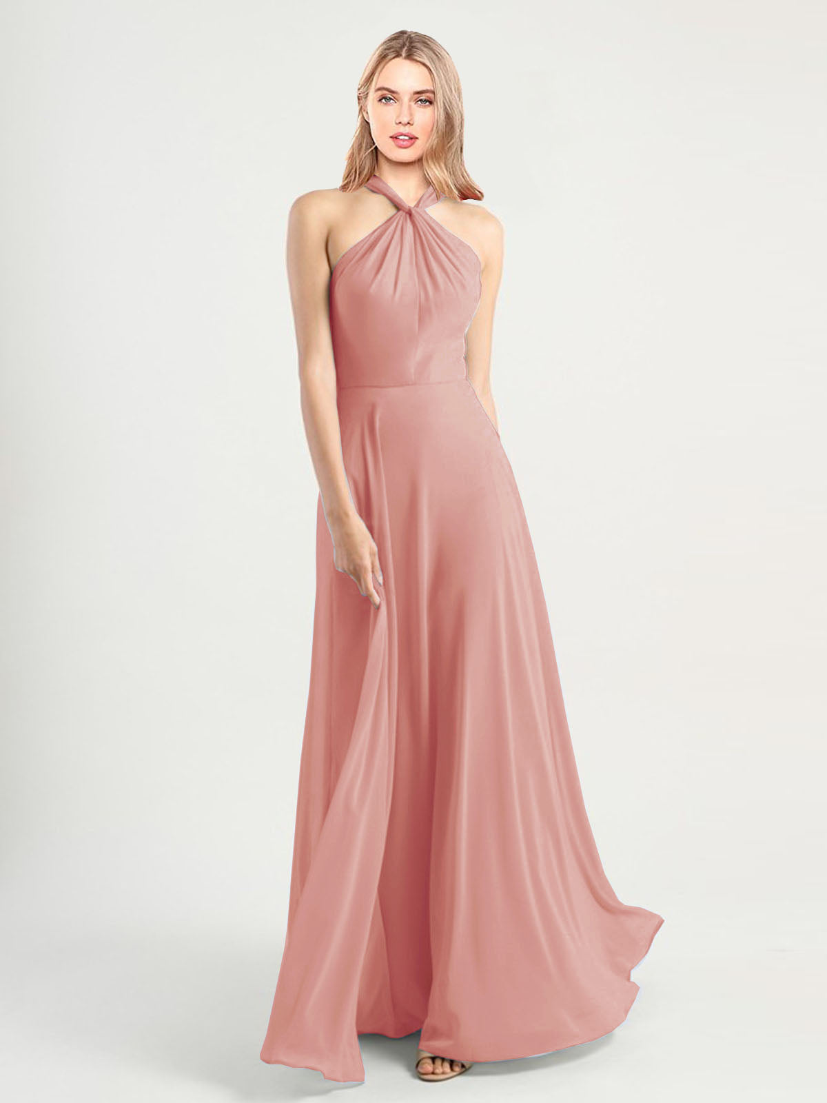 Long A-Line High Neck, Halter Sleeveless Bliss Chiffon Bridesmaid Dress Yoli