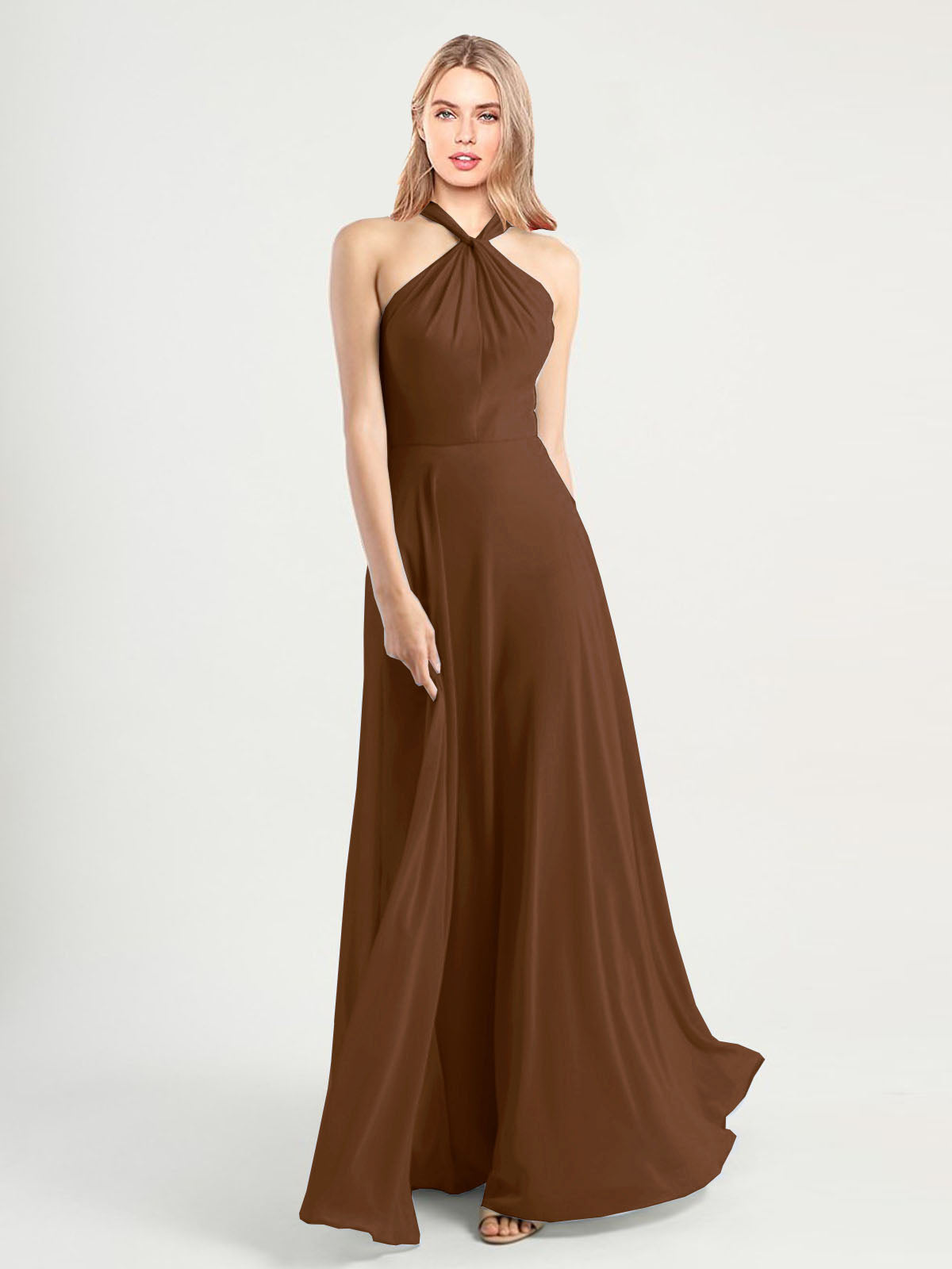 Long A-Line High Neck, Halter Sleeveless Brown Chiffon Bridesmaid Dress Yoli