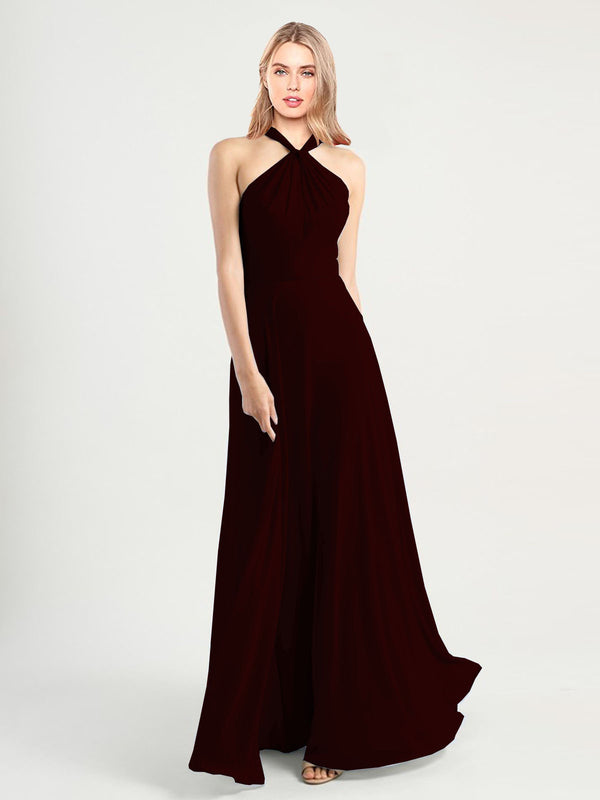 Long A-Line High Neck, Halter Sleeveless Burgundy Gold Chiffon Bridesmaid Dress Yoli