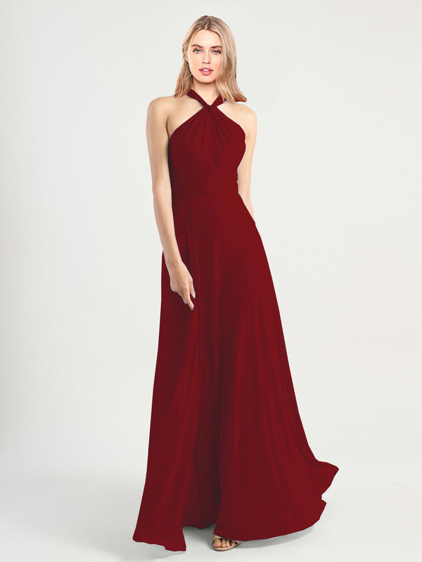Long A-Line High Neck, Halter Sleeveless Burgundy Chiffon Bridesmaid Dress Yoli