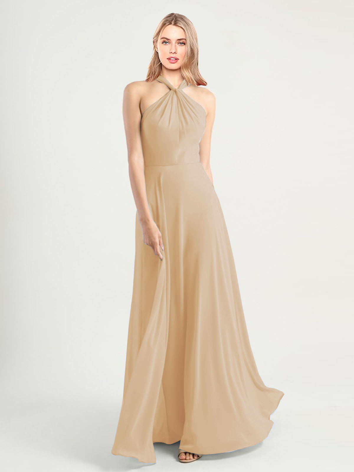 Long A-Line High Neck, Halter Sleeveless Champagne Chiffon Bridesmaid Dress Yoli