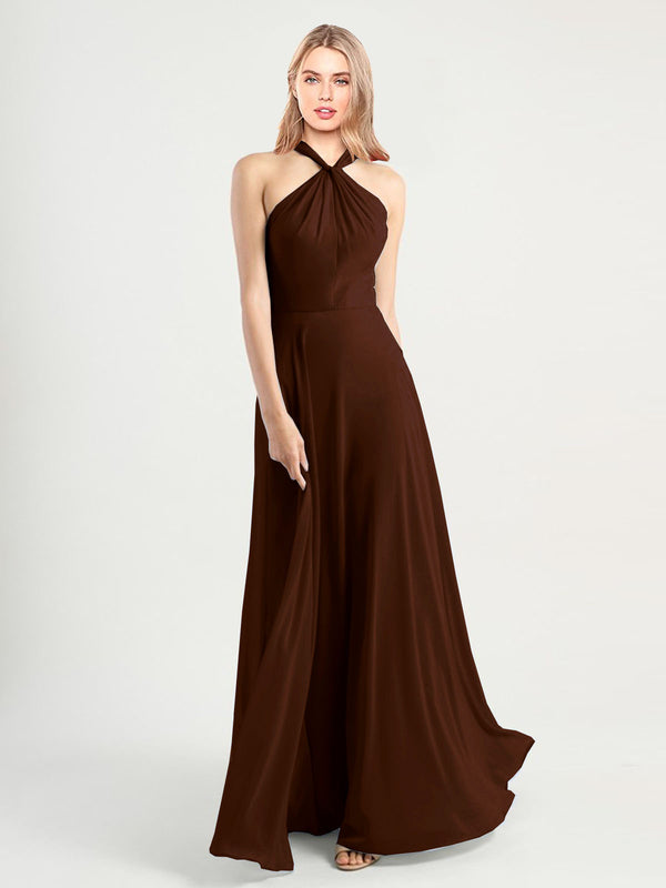Long A-Line High Neck, Halter Sleeveless Chocolate Chiffon Bridesmaid Dress Yoli