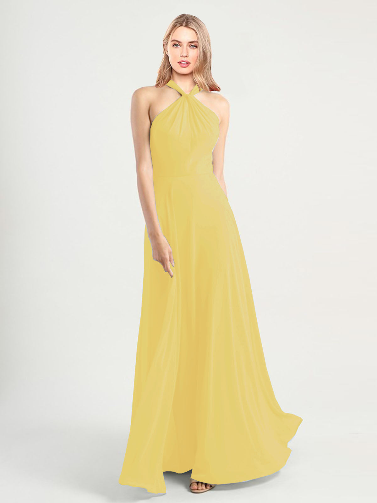 Long A-Line High Neck, Halter Sleeveless Daffodil Chiffon Bridesmaid Dress Yoli