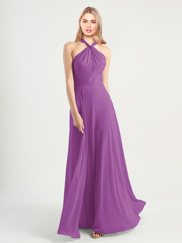 Long A-Line High Neck, Halter Sleeveless Dahlia Chiffon Bridesmaid Dress Yoli
