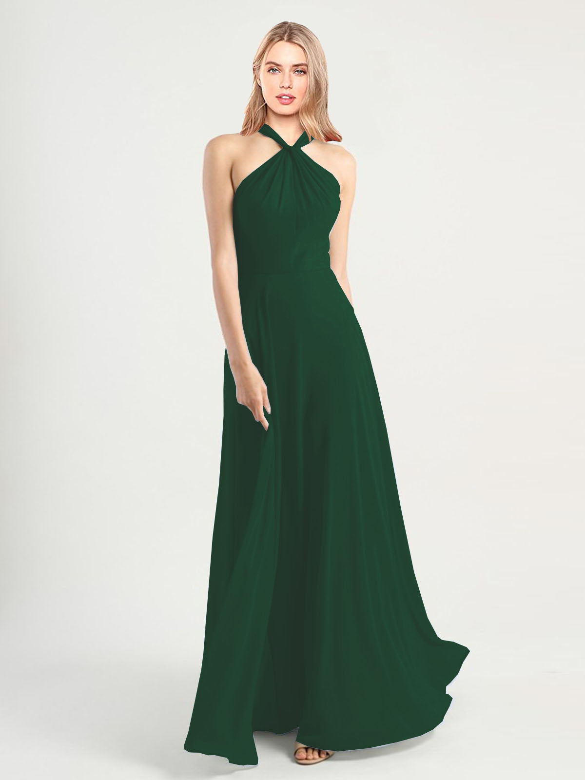 Long A-Line High Neck, Halter Sleeveless Dark Green Chiffon Bridesmaid Dress Yoli
