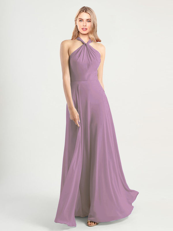 Long A-Line High Neck, Halter Sleeveless Dark Lavender Chiffon Bridesmaid Dress Yoli